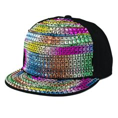 Free Shipping Colorful Fashion Rainbow Hip Hop Caps Womens and Mens Personality Sliver Rivet Crystal Falt Baseball Hats