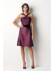 Taffeta Crisscross Neckline Draped Bodice Knee-Length Bridesmaid Dress