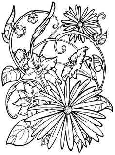 Art Nouveau / Tattoo Style Flowers via Etsy.