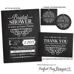 Bridal Shower Invitation Favor Tag and Thank you card Combo Pack, Vintage Blackboard Poster Style -  Birthday, Baby Shower, Retirement on Etsy, $28.00