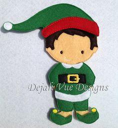 Boy Elf costume for felt dolls available at https://www.etsy.com/shop/SchoolhouseBoutique