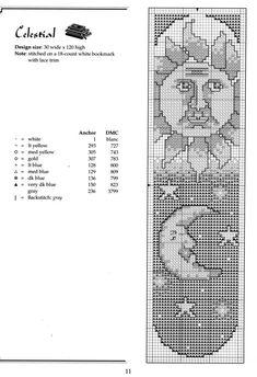 Schema punto croce Segnalibro Sole Luna