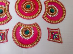 what is Kundan Rangoli Cd Art, Diwali Decorations, Rangoli Designs, Clay Crafts, Event Decor, Acrylics, Google Search, Places, Diy