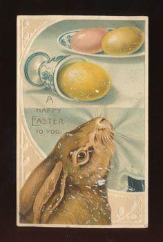 Unusual Large Bunny Rabbit Eggs Antique Easter Postcard HHH193   eBay