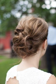 This is amazing- love how it has texture without curls falling out everywhere. Wedding hair updo
