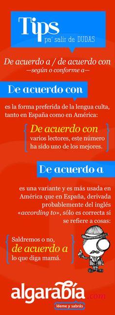 De acuerdo a / de acuerdo con Spanish Grammar, Spanish Vocabulary, Spanish Language Learning, Spanish Teaching Resources, Spanish Lessons, Spanish Classroom, How To Speak Spanish, Cool Words, Tips