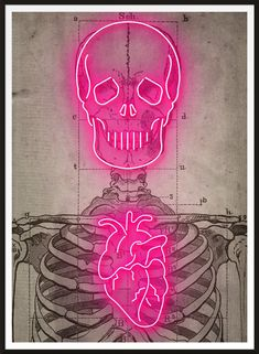 Vintage medical skeleton diagram, with super sexy glowing bright Neon over the top! Skeleton Art, Skeleton Makeup, Skull Makeup, Neon Painting, Body Painting, Neon Design, Neon Aesthetic, Photo Wall Collage, Poster Prints