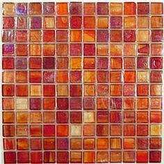 Orange Red Glass Tile Backsplash