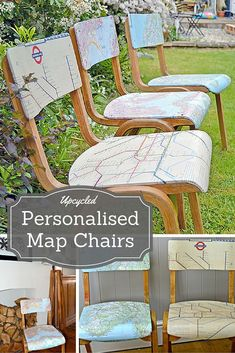 How to Make Personalised Map Chairs - How to Make Personalised Map Chairs Create some unique and personalised furniture by upcycling chairs with maps of your favourite places. Full step by step tutorial. Diy Furniture Chair, Diy Pallet Furniture, Diy Chair, Repurposed Furniture, Furniture Projects, Furniture Makeover, Painted Furniture, Diy Projects, Vintage Furniture