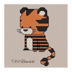 Little Tiger Cross Stitch PDF Pattern by lheureduthe on etsy