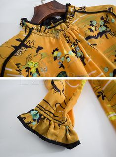 Shop Yellow Floral Print Stand Collar Blouse at EZPOPSY. Churidhar Neck Designs, Neck Designs For Suits, Blouse Neck Designs, Sleeve Designs, Kurti Sleeves Design, Sleeves Designs For Dresses, Kurta Neck Design, Kurti Designs Party Wear, Kurta Designs