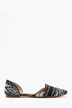 Printed d'Orsay + 9 more pairs of flats