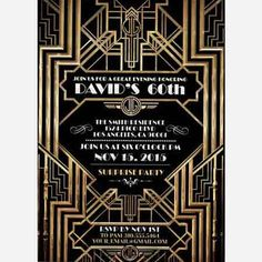 Great Gatsby wedding shower invitation, Hollywood film theme, birthday party invite Black and gold glam printable digital invite, bridal Great Gatsby Party, Great Gatsby Invitation, Invitation Wording, Invitation Ideas, 20s Party, Invitation Templates, Shower Invitation, Card Templates, Roaring Twenties Party
