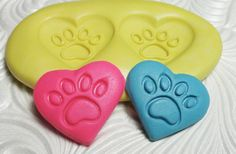 HEART DOG PAWS Flexible Silicone Push Mold for Resin Wax Fondant Clay Fimo Ice 5204. $4.50, via Etsy.