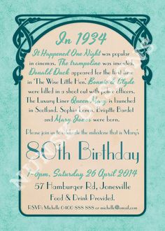 80th birthday invitations really like the wording on this one 80th birthday party invitations womens art nouveau 1930s customized for year of birth printable stopboris Images