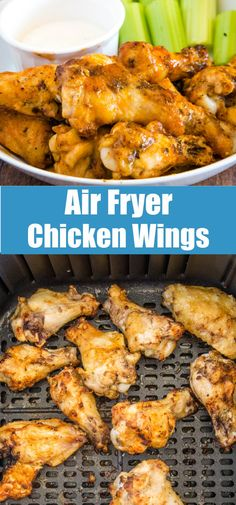 Air Fryer Chicken Wings - Perfectly crispy and delicious chicken wings in just minutes! Use fresh or frozen chicken and toss in your favorite sauce.