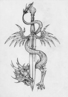 Amazing Sword With Dragon Tattoo Design Amazing Sword With Dragon Tattoo Design. - Amazing Sword With Dragon Tattoo Design Amazing Sword With Dragon Tattoo Design This image has - Sword Tattoo, Dagger Tattoo, Tattoo Wings, Arrow Tattoo, Dragon Sword, Dragon Art, Fantasy Dragon, Dragon Tattoo With Sword, Dragon Tattoo On Back