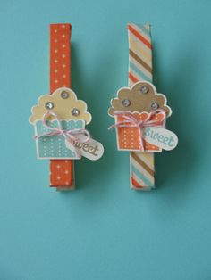 """Retro cupcake peg magnets.  Used Stampin' Up new """"Retro Fresh"""" washi tape, and co-ordinating colors, """"Create a cup cake"""" stamp set and co-ordinating punch, bakers twine, """"Fabulous Phrases"""" stamp set and """"word window"""" punch."""