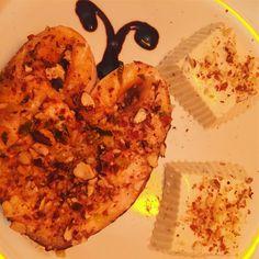 """""""Mi piace"""": 7, commenti: 1 - mariella sebastiani (@mariellasebi) su Instagram: """"#oggisimangiacosi #salmone marinato e poi al forno con #mandorletritate con contorno di #pannacotta…"""""""
