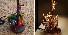All you need is action figures, some glue and spray paint.