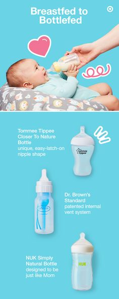 Ease the transition from breastfeeding to bottle feeding by introducing bottles designed to be more like Mom. How do you know which is best? A simple way to find a favorite is to add different styles to your Target Baby Registry and let your baby decide. For fuss-free feeding, check out Tommee Tippee, Dr. Brown's, NUK, and other great choices. Each style fits different needs, like anti-colic vent systems to keep air out of Baby's tummy and closer-to-nature options to replicate breastfeeding.