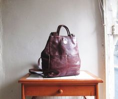 vintage leather backpack by sunfafa