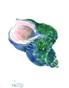 Green Blue Seashell, one of a kind original watercolor painting 12 X 9 in, emerland green blue watercolo art
