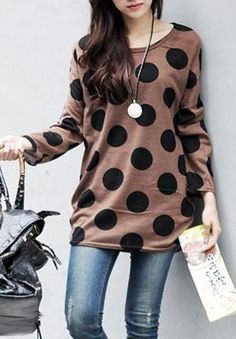 Casual Scoop Collar Polka Dot Print Loose Long Sleeve Women's T-Shirt T-Shirts | RoseGal.com Mobile