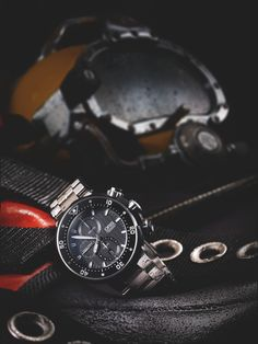 #Oris #ProDiver #Chronograph - An uncompromising action hero. The innovative Rotation Safety System is the safest there is. Also equipped with a chronograph, super visible counter displays and an automatic helium valve it's the ultimate professional divers watch: a super-sized action hero 51mm in diameter and water resistant to 1000 metres.