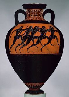Hoplitodromos (carrera olímpica de a pié). Ánfora panatenaica de cerámica ática de figuras negras, s. III a. C. Museo del Louvre, París. Francia.