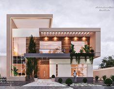 Modern Entrance - Living Hall on Behance Classic House Exterior, Modern Exterior House Designs, Modern House Facades, Modern Villa Design, Dream House Exterior, Modern Architecture House, Architecture Design, Exterior Design, Modern Entrance