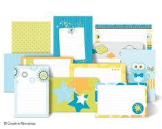 NEW March 1, 2013 -- It's a Boy Mat Pack ($11). These are double-sided designer mats and journal cards in 4x6 and 4.5x6.5 sizes and can be used in both traditional scrapbooks and PicFolio Albums. #baby