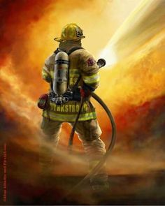 *firefighter in action...powerful image..