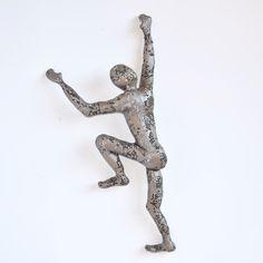 Climbing Figure - metal wall art - Unique gift - wire mesh sculpture - Climbing man sculpture. $95.00, via Etsy.