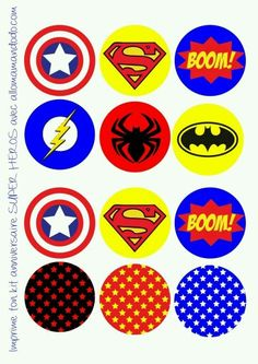 birthday party of superheroes free printable labels bunting wrappers cupcakes and toppers