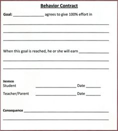 homework contract for middle school students