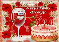 Urodziny i imieniny: Gify urodzinowe Birthday Songs, Happy Birthday, Happy Sunday, Birthday Candles, Alcoholic Drinks, Tableware, Flowers, Amigurumi, Birthday