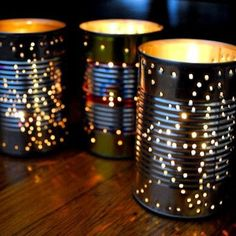 Drill holes into tin cans and put candles in them. Lovely for an outdoor party or along the driveway. Party HOW TO: Recycle a Tin Can Into a Gorgeous Outdoor Lantern for Summer Parties. Camping Parties, Slumber Parties, Outdoor Parties, Camping Themed Party, Camping Theme Crafts, Camping Party Activities, Picnic Parties, Sleepover, Summer Party Decorations