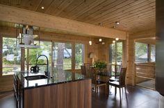 Honka Blockhaus Modell Fusion Bretagne Esszimmer Log Home Kitchens, Wooden Cottage, House Made, Log Homes, My Dream Home, Cribs, Beautiful Homes, Pergola, Lounge