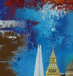 London Skies (Blue), Abstract Expressionist London Skyline, 2016, Limited Editions of 20 - Big Fat Arts | BFA Gallery | Czar Catstick - 2