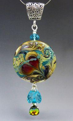 Broken Heart lampwork custom bead pendant sterling by LandSArts, $140.00