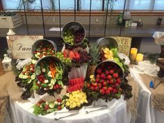 Rustic fruit and vegetable display. More