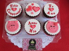 Cupcakes mensaje de amor