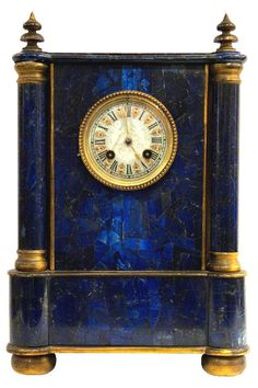Antique French Lapis Lazuli Mantel Mantle Clock