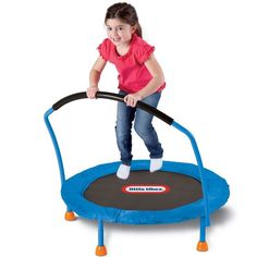 Mini Trampoline With Handrail Indoor Kids Exercise Jumper Play Bouncer Handle 3' #LittleTikes