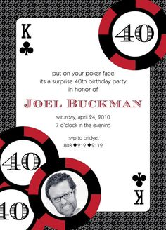 Casino Poker Birthday - Red, Blue or Pink - Printable Customized Invitation