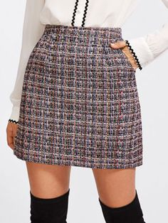 Zip Back Tweed Skirt online. SheIn offers Zip Back Tweed Skirt & more to fit your fashionable needs. High Waisted Plaid Skirt, Plaid Skirts, Waist Skirt, A Line Skirts, Short Skirts, Mini Skirts, Mode Kawaii, Embellished Skirt, Winter Skirt