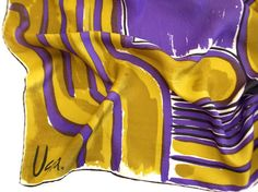 Vera Neumann Silk Blend Scarf - Abstract Purple and Green - Vintage 1970s Square Vera Scarf