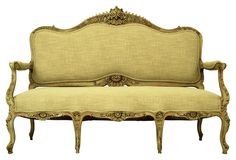 19th-C. French Love Seat  I'd re upholster this in a deep polo green velvet.   $2,475.00  3,900.00 Estimated Market Value    Era:  Antique; 19th century  Condition:  Very Good; new upholstery