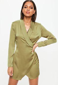 ed830bca5e0e63 Khaki Textured Satin Collar Wrap Ruched Shift Dress
